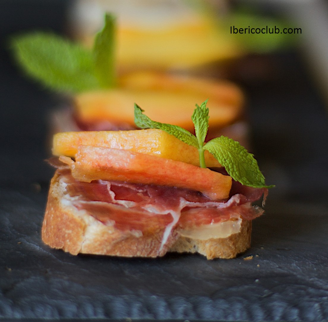 Jamon Iberico de bellota with peach